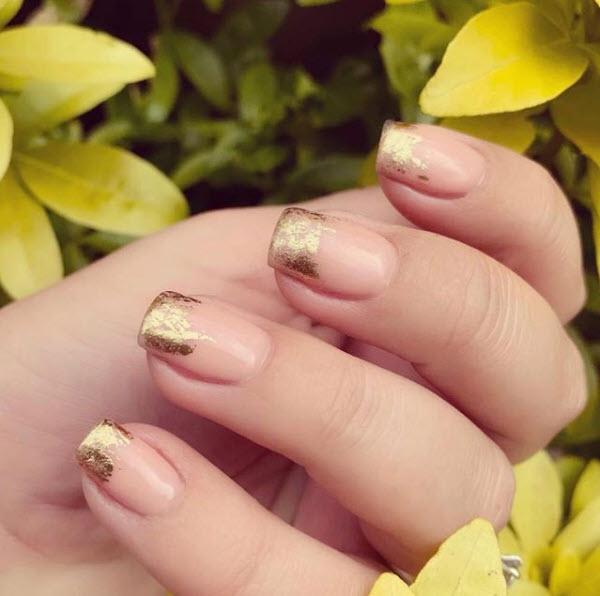 Golf Leaf Nude Nails