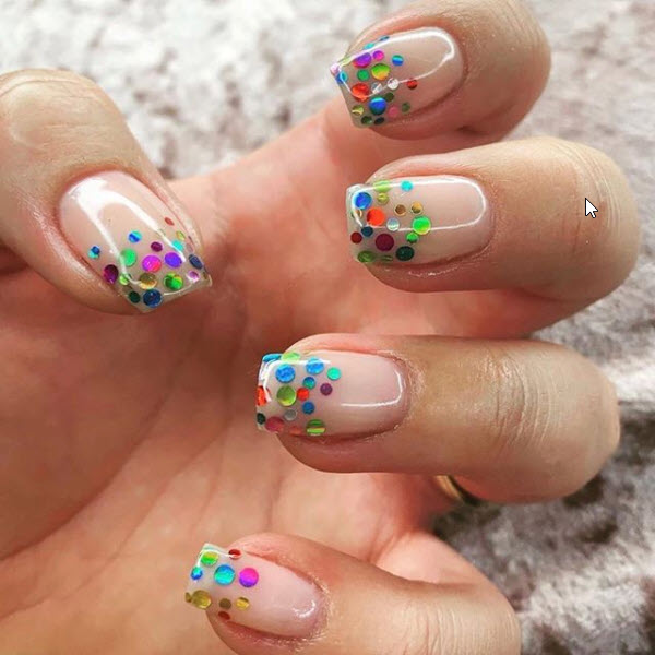 Nude Sequin Dotted Nails